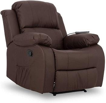 sillon reclinable manual acolchado marron trevi